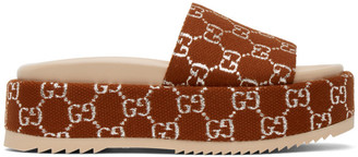 Gucci Brown GG Angelina Platform Sandals