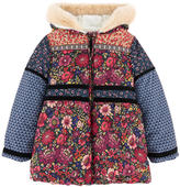 Desigual Printed padded jacket with a false fur lining