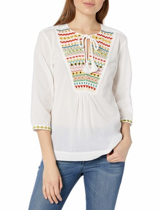 Trina Turk Women's Renzo Zig Zag Embroidered Top