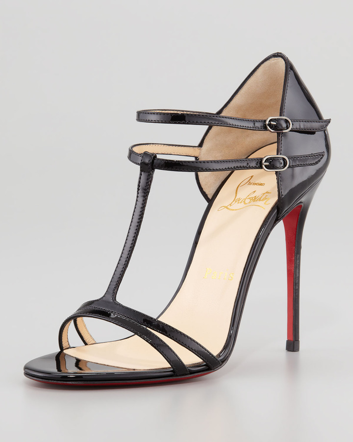 Christian Louboutin T-Strap Patent Red Sole Sandal, Black
