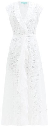 Melissa Odabash Brianna Ruffled Broderie-anglaise Maxi Wrap Dress - White