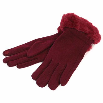 Black Ginger Warm Winter gloves with a faux fur decorative trim. They have a heart shaped finger pad for use with your phone or tablet (Maroon)