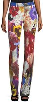 Roberto Cavalli Floral-Print Mid-Rise Flared Pants