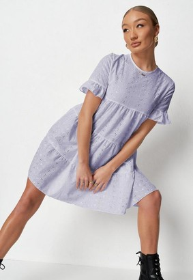 Missguided Lilac Frill Sleeve Broderie Smock Dress