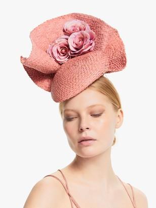 Bundle MacLaren Millinery Brigette Rose Detail Wave Disc Occasion Hat, Pink
