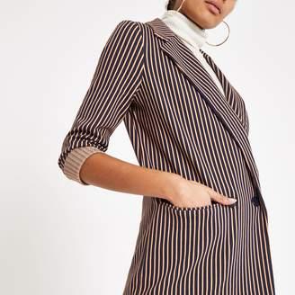 River Island Womens Navy stripe double breasted long line blazer