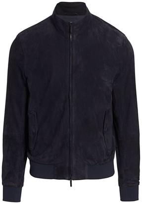 Emporio Armani Suede Full-Zip Blouson Jacket