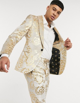 Twisted Tailor suit jacket with gold floral flock in champagne