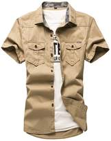 Pishon Men's Short Sleeve Shirt Cotton Flap Pockets Button Up Casual Dress Shirt