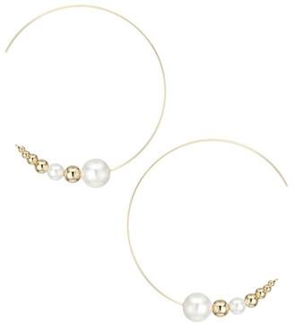 Jules Smith Designs 9MM White Pearl, 6MM White Pearl & 14K Goldplated Hoop Earrings