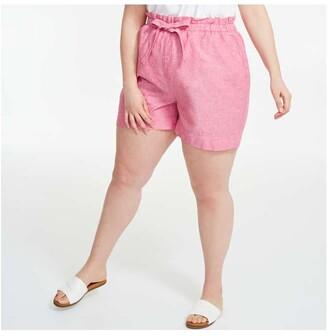 Joe Fresh Women+ Linen Blend Shorts, Bright Red (Size 1X)