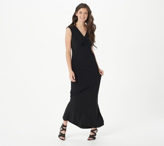 Women With Control Attitudes by Renee Petite Como Jersey Knot Front Maxi Dress
