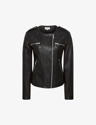 Reiss Ossie zipped leather biker jacket
