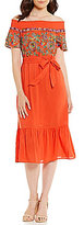 Gianni Bini Maria Embroidered Tie Front Off the Shoulder Midi Dress