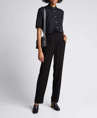 Vince High-Waist Tailored Pintuck Trousers