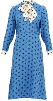 HVN Elisa Cherry-print Silk-satin Midi Dress - Womens - Blue