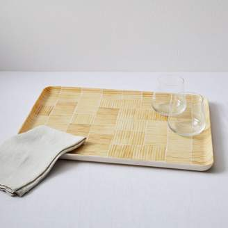west elm Fabric Pattern Tray - Yellow Lines