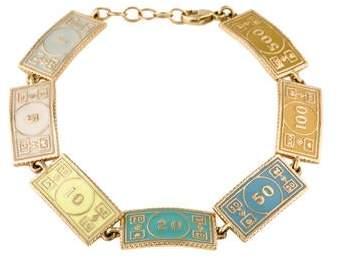 Alison Lou 14K Enamel Dollar Bracelet