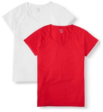 Time and Tru Women's Short-Sleeve Raglan T-Shirt, 2-Pack Bundle