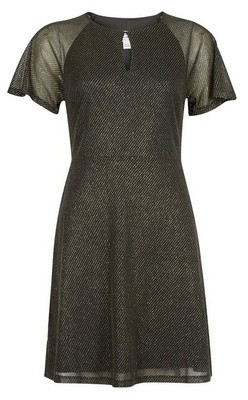 Dorothy Perkins Womens Dp Petite Gold Shimmer Fit And Flare Dress, Gold