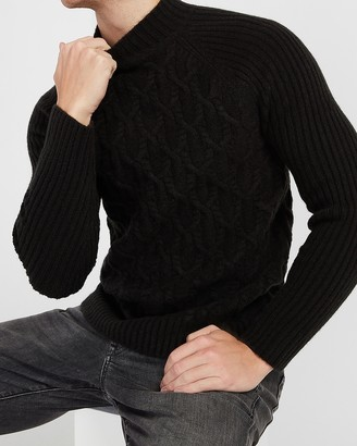 Express Solid Cable Knit Turtleneck Sweater