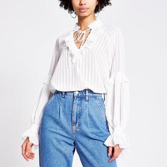 River Island White sheer stripe frill V neck blouse