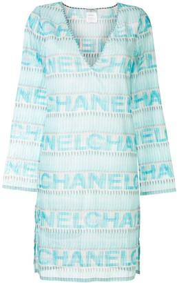 Chanel Pre Owned sheer logo T-shirt dress