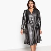 Castaluna Plus Size Metallic Wrapover Midi Dress