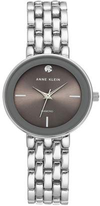 Anne Klein Women's Grey Silver-Tone Diamond Dial Bracelet Watch, 30mm