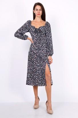 Lilura London Leaf Print Ruched Neckline Midi Dress In Black