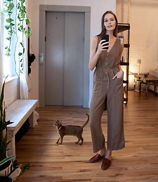 Lou & Grey Linen Button Pocket Jumpsuit