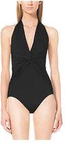 Michael Kors Ruched V-Neck Halter Swimsuit