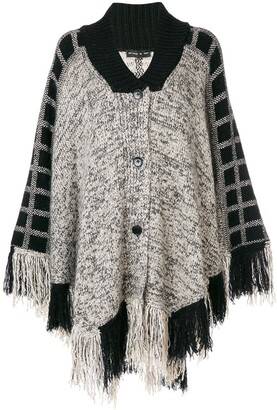 Etro Check Detail Fringed Cape