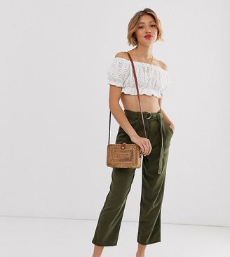 Miss Selfridge Petite tapered trousers with belt in khaki-Green