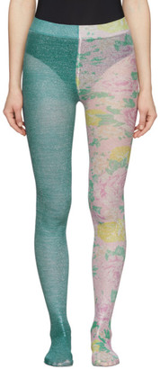 Marc Jacobs Blue The Left and Right Print Tights