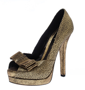 Fendi Metallic Gold Brocade Fabric Deco Peep Toe Bow Platform Pumps Size 37.5