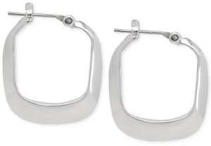 Kenneth Cole New York Small Silver Rectangle Small Hoop Earrings