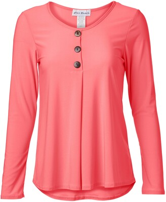 Star Vixen Women's Petite Long Sleeve Button Front Flowy Tank Top with Pleated Detail