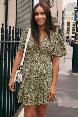 Topshop Womens Lime Green Angel Sleeve Mini Dress - Lime