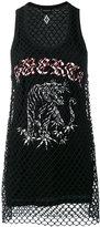 Marcelo Burlon County of Milan printed mesh vest - women - Cotton/Polyester/Spandex/Elastane - XS