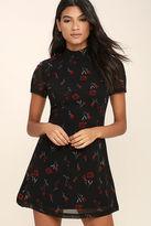 BB Dakota Benhill Black Floral Print Dress