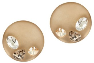 Alexis Bittar Crystal-Studded Lucite Domed Clip-On Earrings