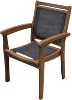OUTDOOR INTERIORS Outdoor Interiors Sling and Eucalyptus Stackable Arm Chair