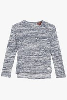 7 For All Mankind Girls 4-6x Long-Sleeve Marled Boxy High-Low Top With Zipper In Navy