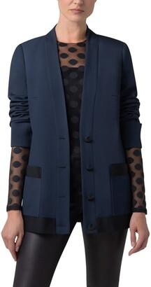 Akris Punto Contrast Trim Wool Tricotine Blazer