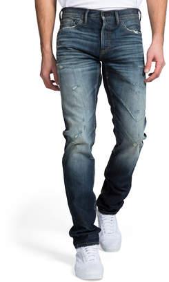 PRPS Men's Dark Wash Whisker and Abrasion Denim Jeans