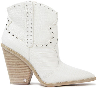 Sam Edelman Studded Croc-effect Leather Ankle Boots