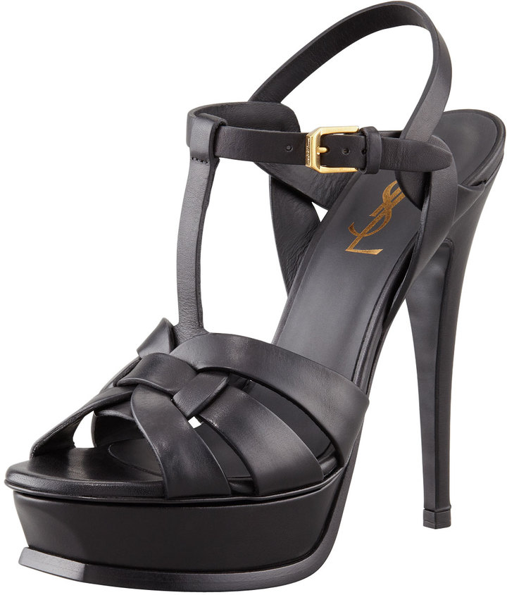 Saint Laurent New Tribute Platform Sandal, Black