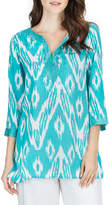 Joan Vass 3/4-Sleeve Embroidered Ikat-Print Tunic