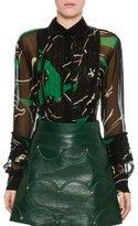 Valentino Chiffon Panther-Print Blouse, Green/Black